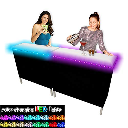 PartyPongTables.com PARTYBARDOUBLELED Portable Party w/LED Lights and Black & Hawaiian Bar Skirts-Double Set, 39 inches (Tables Bar Led)