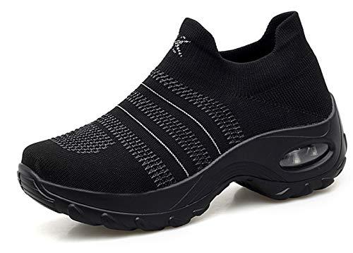 Ezkrwxn Slip on Platform Shoes for Women Wedge Sneakers Black Purple 2019 Summer Flyknit mesh Breathable Athletic Walking Shoes Ladies Casual Sneaker Size 9 (1875-Black-41)