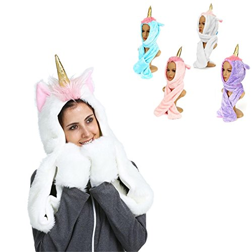 (Plush Winter Hat - Scarf Shawl Hat - Women Girls Unicorn Plush Warm Hat Earmuffs Scarf Shawl Gloves Winter Christmas - Pink (Girls Plush)