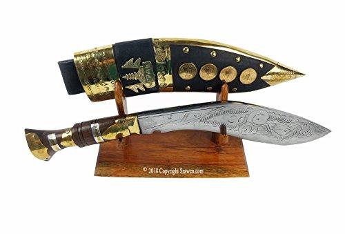 "British Gurkha Kukri,Hand Forged Khukuri Blade, Full tang Decorative Nepal Knife Bowie 15"" Genuine khukri (With wooden stand)"
