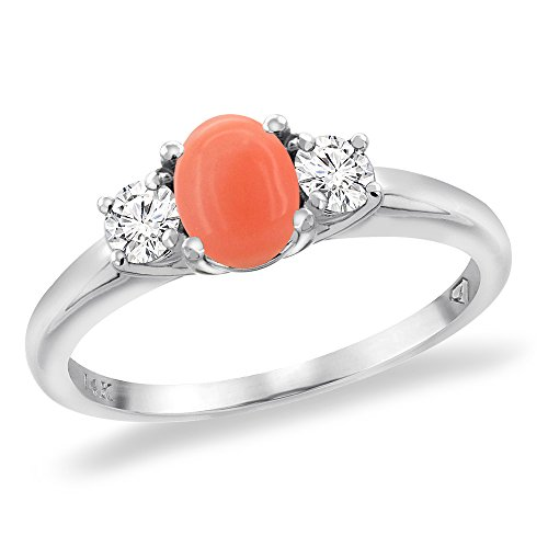 14K White Gold Natural Coral Engagement Ring Diamond Accents Oval 7x5 mm, size 6