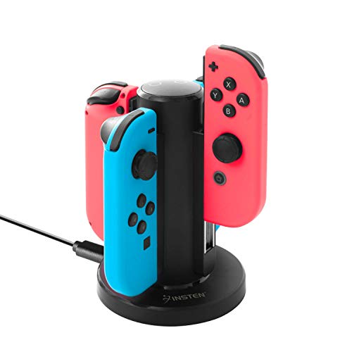 (Insten Joy Con Charger for Nintendo Switch by Insten 4 in 1 Joy-Con Charging Dock Station with Individual LED Charge Indicator and USB Cable for Nintendo Switch JoyCon Controller Console Accessories)