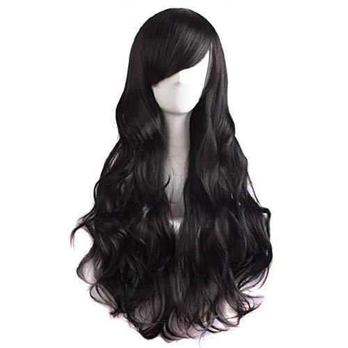 Black Long Wavy Wigs For Women - Synthetic Hair Lace Front Wig Uk Fancy Dress Wig Heat Resistant Halloween Anime -