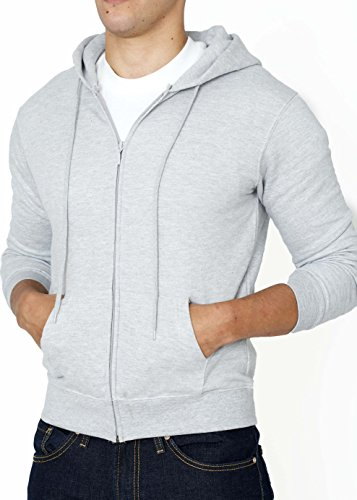 Price comparison product image Men's Full-Zip Hoodies -Soft Cotton Comfort Fleece Hooded Sweatshirts by NY Ave (S, Gray)