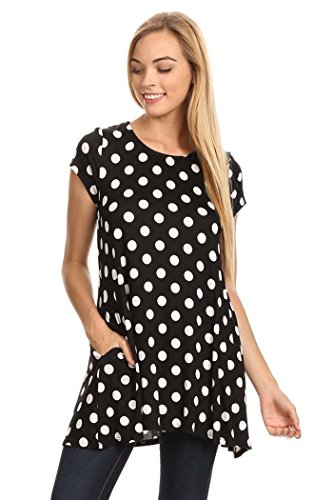 Women's Cute Dot Short Sleeve Tunic Top MADE IN USA (M, (Red And White Polka Dot Leggings)