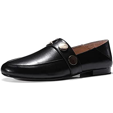 Nine Seven Women's Leather RoundToe Heel Flats 5 B(M) US Black