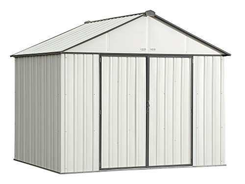 (Arrow 10' x 8' EZEE Shed Cream with Charcoal Trim Extra High Gable Steel Storage Shed)