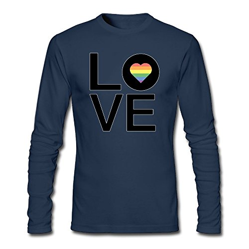 Rainbow Love Heart Gay Pride Men's Shirt,Long Sleeve Bottoming Shirt Coat For Men