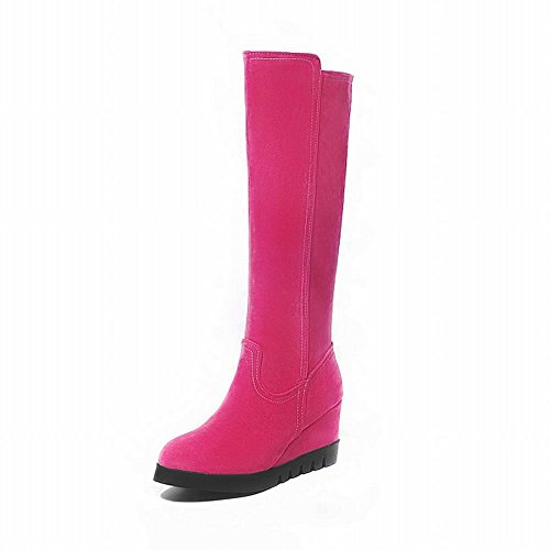 Carolbar Womens Zipper Fashion Date Party Wedge Heel Mid-calf Dress Boots Rose Red GYypE
