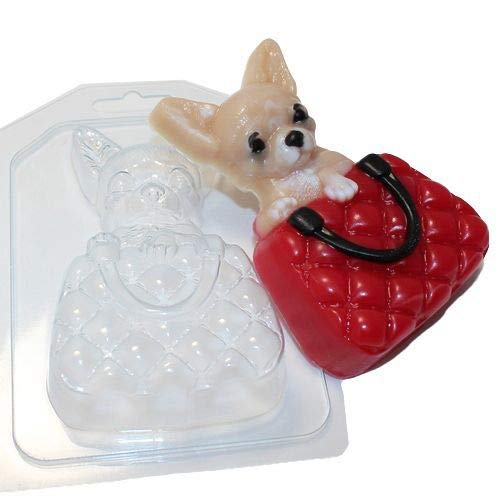 1pc Chihuahua in Luxury Bag Dog Animal Plastic Soap Making Mold Mould 108x70x28mm ()