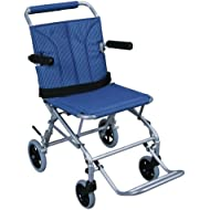 Drive Medical Super Light, Folding Transport Chair with Carry Bag, Blue