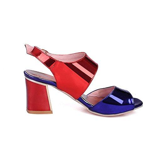 AgooLar Women's Buckle Open Toe Kitten Heels PU Solid Sandals Blue 20zrVEQH