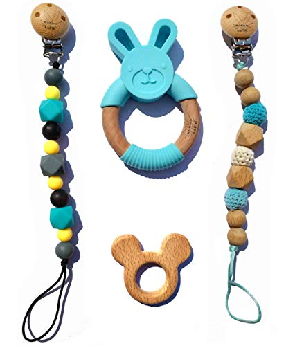 Organic & Natural Bunny Rabbit Baby Teether Ring + 2 Pacifier Clips Silicone Teething Beads 100% BPA Free,Use with Any Pacifier/Teether,soothing Pain Toy for Toddlers Boys and Girls .BONUS wooden ring