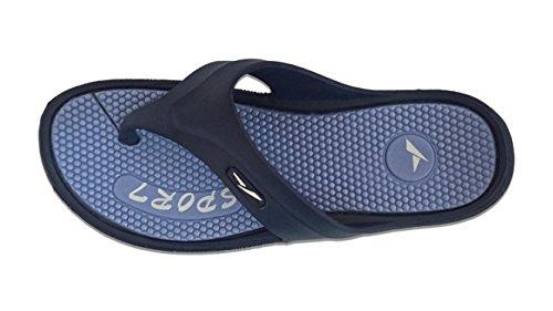 Slipper Rack Mens Sport Massage Sole Two Toned Flip Flop Slippers Blue