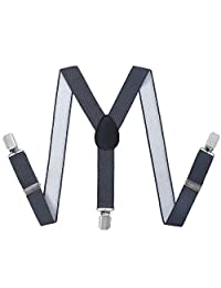 Toddler Kids Boys Baby Suspenders - Adjustable Y Shape Elastic Leather Braces Suspenders (Dark Grey, 23.6 Inch (7 Months - 3 Years))