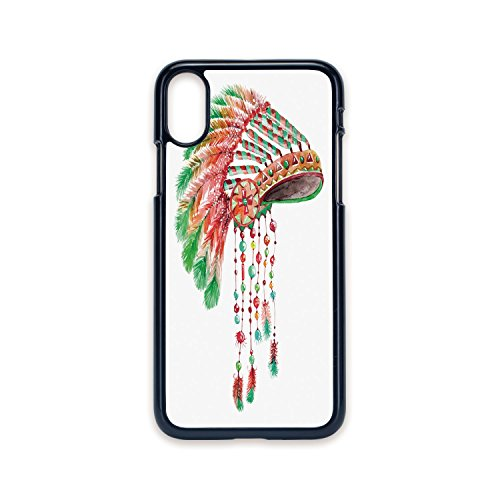 Phone Case Compatible with iPhone X 2D Print Black Edge,Feather,Tribal Chief Costume Headdress Native American Culture Ethnicity Symbol Decorative,Vermilion Orange Green,Hard Plastic Phone Case