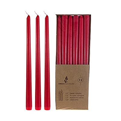 """Mega Candles - Unscented 12"""" Taper Candles - Red, Set of 12"""