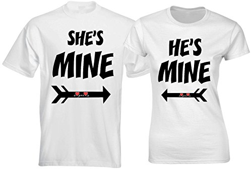 SuperPraise Matching Couple T Shirts He She is Mine Love Arrow His Her Outfits by SuperPraise