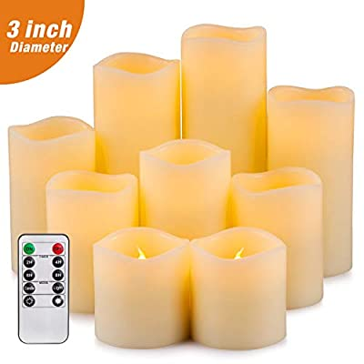 """Yutime Flameless Candle Set of 12 (D 3"""" x H 4"""") Battery Operated LED Pillar Real Wax Flickering Candles with Remote Control Timer"""
