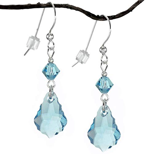 Swarovski Crystal Aquamarine Blue Baroque and Bicone Sterling Silver Earrings