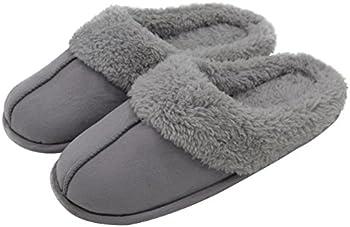 HomeTop Women's & Men's Plush Fleece Slip Memory Foam Slippers