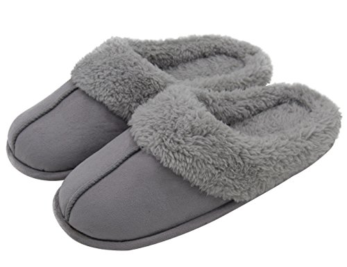 HomeTop Men's & Women's Micro Suede Plush Fleece Lined Slip On Memory Foam Indoor Clog House Slippers (Women / Gray, 5-6 B(M) US)