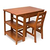 Lipper International 584P Child's Work Station Desk and Chair, Pecan Finish