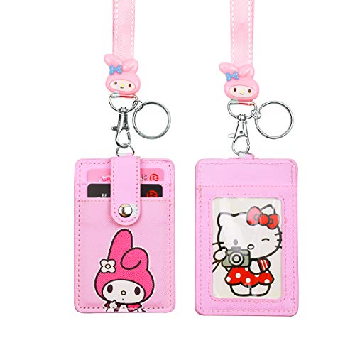 HASFINE Cute Credit Card Case Neck Pouch ID Badge Holder Lanyard with Cartoon Shield Keychain for Students Teens Girls Women,Rabbit