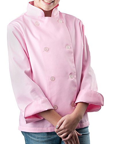 Girls Pink Classic Long Sleeve Chef Coat, Child (Chef Pink)