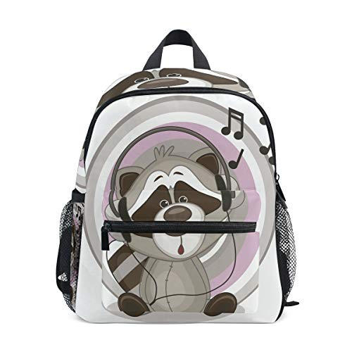 MUOOUM Cute Raccoon Sing Song Music Notes Kids Backpack Pre-School Toddler Bag Travel Daypack -