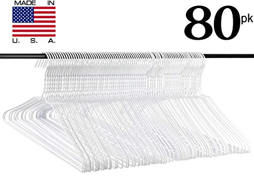 Neaties USA Made Standard Wire Hangers with White Vinyl Coat, 60pk -