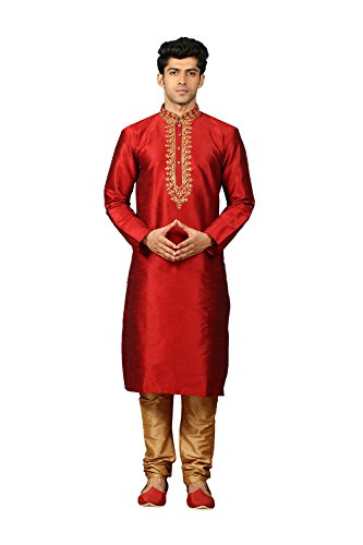 daindiashop-USA Mens Kurta Pajama Wedding Maroon Designer Partywear Traditional In Maroon Dupion Art Silk by daindiashop-USA