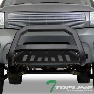 Topline Autopart Matte Black AVT Style Bull Bar Brush Push Front Bumper Grill Grille Guard With Skid Plate For 04/05-15 Nissan Titan/Armada