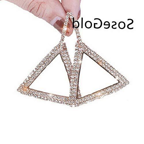 Waldenn Wedding Elegant Crystal Triangle Geometric Hoop Earrings Women Jewelry Party Hot   Model ERRNGS - 12689  