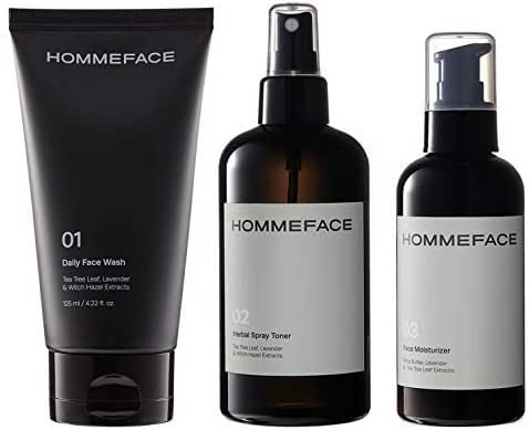 HOMMEFACE Daily Trio Skin Set for Men | 3-Step Skincare Kit | Includes Face Wash, Herbal Spray Toner, and Facial Moisturizer | Alcohol-free, No SLS