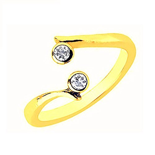 Ritastephens 10K Yellow Gold Crossover Shiny CZ Cubic Zirconia Toe Ring or Ring Body Art Adjustable