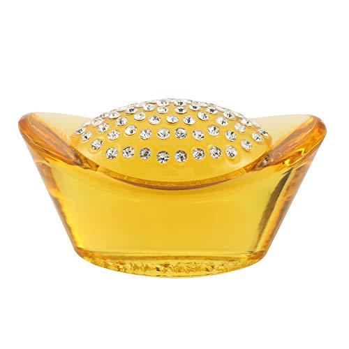 Prime Feng Shui Big Citrine Ingots with Bling Crystal Home Decoration Bring Wealth Amulet Gift for Men/Women