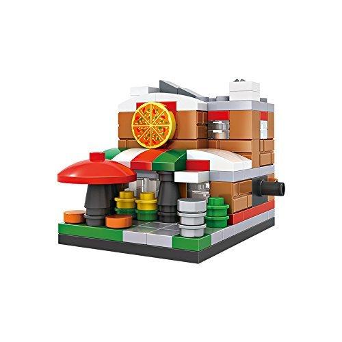 126 Pieces Small Building Block Set Micro Brickland Italian Style Pizza Shop Mini-Sized Architecture Building Kits