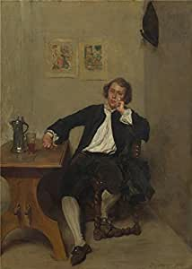 polyster Canvas ,the High Definition Art Decorative Canvas Prints of oil painting 'Jean Louis Ernest Meissonier A Man in Black smoking a Pipe ', 20 x 28 inch / 51 x 71 cm is best for Game Room artwork and Home decor and Gifts
