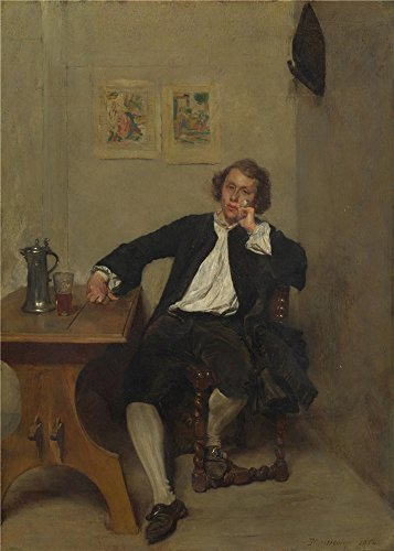 'Jean Louis Ernest Meissonier A Man In Black Smoking A Pipe ' Oil Painting, 8 X 11 Inch / 20 X 28 Cm ,printed On Perfect Effect Canvas ,this Vivid (Meissonier Jean)