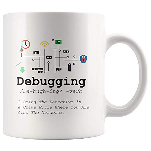 Debugging Definition Mug Funny IT Programming Coding Code Programmer White Coffee Cup Binary Computer Teacher Student Present