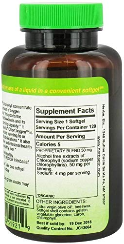 Herbs Etc ChlorOxygen Chlorophyll Concentrate Alcohol Free 120 Fast-Acting Softgels, 2 Pack, 240 Total