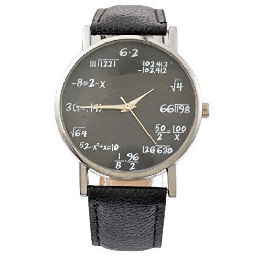 Sourts Lover Girl Artificial Leather Band Math Formula Dial Wrist Quartz Analog Watch 24cm ()