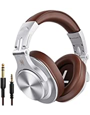 OneOdio A70 Auriculares Bluetooth sobre la oreja, auriculares de estudio con Shareport, plegables, con cable e inalámbricos, auriculares de grabación profesional con sonido estéreo para tambor eléctrico de piano guitarra (plata)