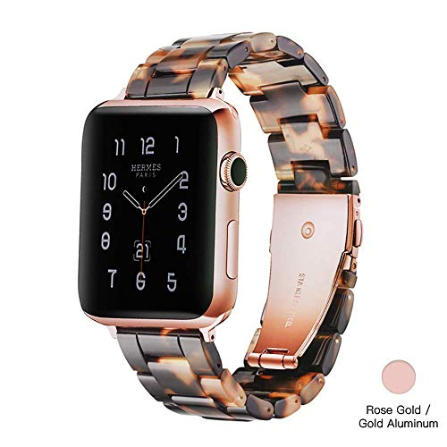 Light Apple Watch Band - Fashion Resin iWatch Band Bracelet Compatible with Copper Stainless Steel Buckle for Apple Watch Series 4 Series 3 Series 2 Series1 (Tortoise Stone, 38mm/40mm)