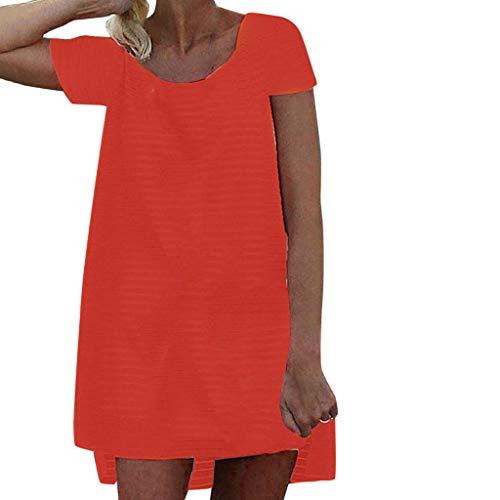 Striped mesh Dress Ladies Fashion Casual Summer O-Neck
