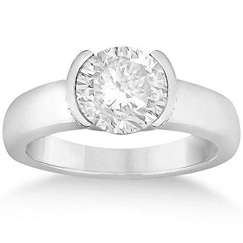 Half-Bezel Set Solitaire Diamond Engagement Wedding Ring Setting for Women in Palladium Half Bezel Set Solitaire