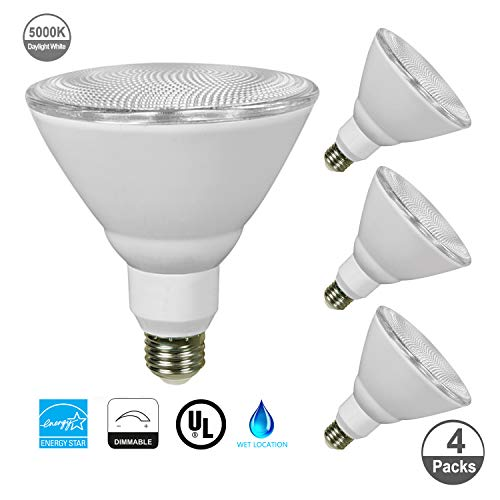 JULLISON 4 Packs Outdoor Flood PAR38 LED Bulb, 120V/13W/980Lumens/40 Degrees Beam, 90W Equivalent, 5000K Daylight White, CRI80+, Dimmable, E26 Base, UL & Energy Star & FCC Listed, Wet Locations