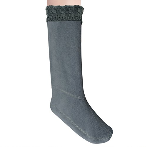Knitted Cable - Anzermix Women's Fleece Cable Knitted Liners Rain Boot Socks (M, Gray)