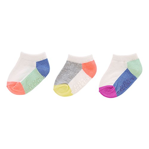 Carter's Girls' Ankle Socks (3 Pack) Baby, White/Multicolor, 12-24 MONTHS (Carters White Baby Socks)